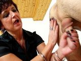 Mature Wifey Giving a Handjob And Strokes Out Neighbors Cock