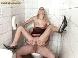 blonde girl fucking on toilette