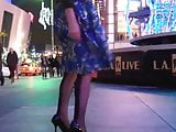Wind upskirt dress flying up