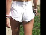 Remarkable Tan Body Cut Off White Denim