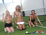 Amateur teens and milf playing tennis