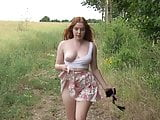 sexy redhead outdoors