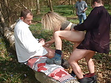 Amateur gangbang in forest with voyeurs