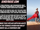 Sindy Rose fuck her ass with big white dong on the terrace