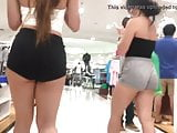 Candid sexy asian ass in booty shorts