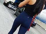 Yoga pants see-thru thong