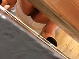 Chinese teen in white dress toilet voyeur