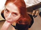 Redheaded slut on her knees sucking dick, POV