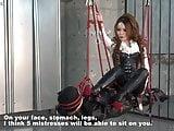 Japanese dominatrix Kira going on the human swing