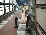 Momo is a squirting naked bunny girl on footbridge short ver