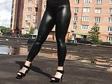 Russian slut Alexandra Buslaeva in leather leggings & heels