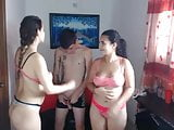 Two girl and brother enjoy party